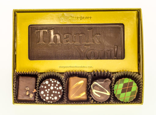 5.5″ Medium Chocolate Bar +5 Assorted Truffles